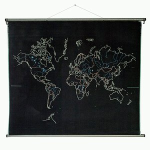 Large Vintage Reversible Wall Chart of the World & Europe