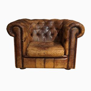 Vintage Chesterfield Leder Sessel