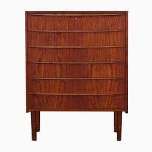 Danish Vintage Teak Veneer Dresser with Six Drawers