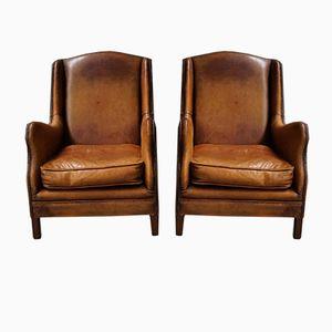 Cognacfarbene Niederländische Vintage Leder Sessel, 2er Set