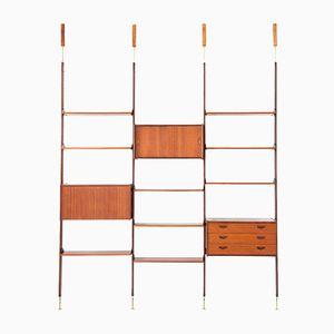 Italienisches Boden-Decke Regalsystem aus Teak und Messing, 1950er