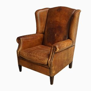 Vintage Dutch Leather Armchair with Rivets