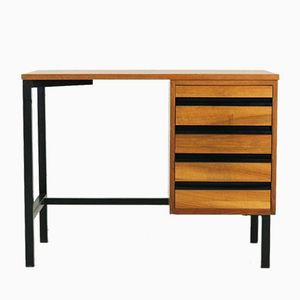 Small Mid-Century Modern Writing Desk in Walnut Veneer & Steel