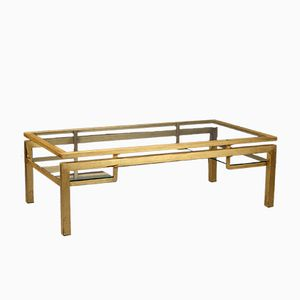 Gilded Metal Coffee Table by Guy Lefèvre for Maison Jansen, 1970s