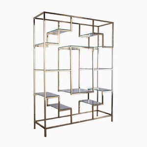Bücherregal aus Glas und Messing von Kim Moltzer, 1970er