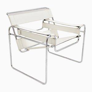 Weißer Vintage Wassili Armlehnstuhl von Marcel Breuer