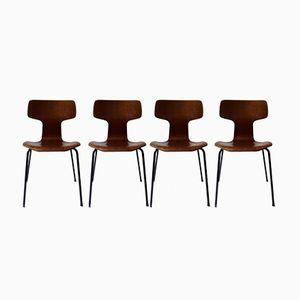 Marteau Stühle mit Teak-Furnier von Arne Jacobsen für Fritz Hansen, 1960er, 4er Set