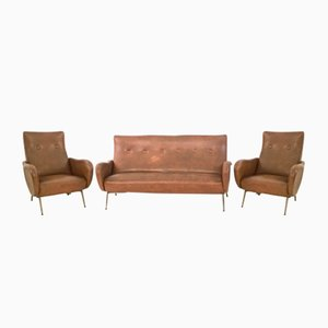 Italian Skai Living Room Set by Marco Zanuso, 1950s
