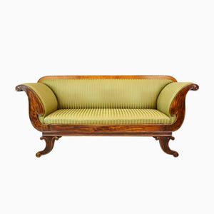 Victorian Mahogany & Beech Scroll Arm Sofa, 1850s
