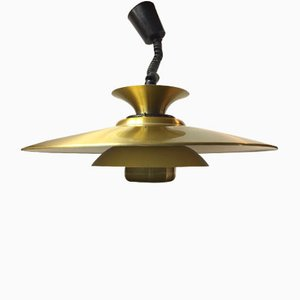 Danish Brass Tiered Pendant Lamp from Jeka, 1970s
