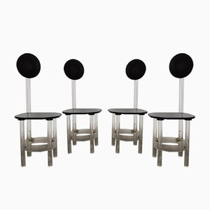 Black and Clear Sculptural Lucite High Back Dining Room Chairs, 1970s, Set of 4