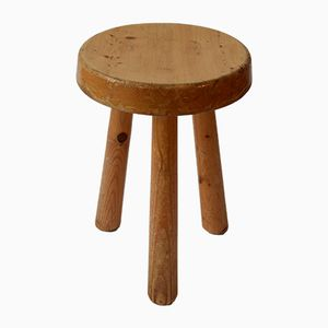 Vintage Pine Stool by Charlotte Perriand