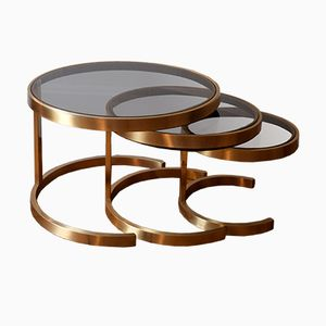 Gilded Metal Nesting Tables, 1970s