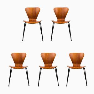 Dänische Teak Esszimmerstühle, 1960er, 5er Set