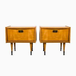 Mid-Century Modern Lemon Wood Bedside Tables, 1950s, Set of 2