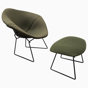 Vintage Diamond Chair and Ottoman by Harry Bertoia for Knoll International.