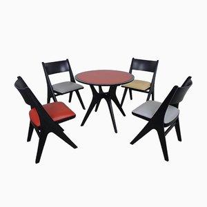 Tischgruppe mit 4 Penguin Stühlen von Carl Sasse für Casala, 1950er