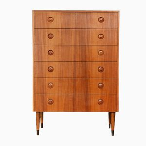 Mid-Century Danish Teak Veneer Tall Chest of Drawers, 1960s