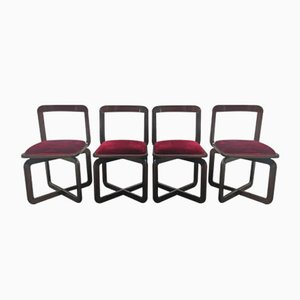 Dining Chairs in Chestnut, 1970s, Set of 4
