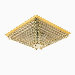 Große Italienische Vergoldete Pyramiden Deckenlampe von Venini, 1970er