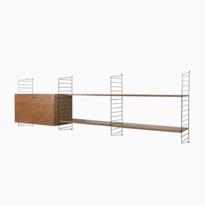 Swedish Walnut Wall Unit by Nisse Strinning for String, 1960s