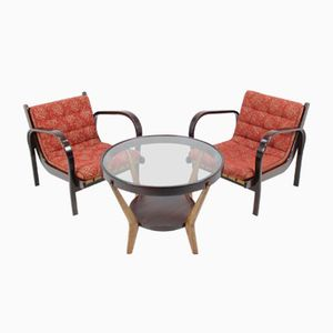 Vintage Armchairs and Coffee Table Set by Karel Kozelka & Antonín Kropáček
