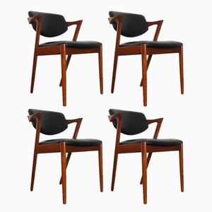 Teak & Leatherette Model 42 Dining Chairs by Kai Kristiansen for Schou Andersen, 1960s, Set of 4