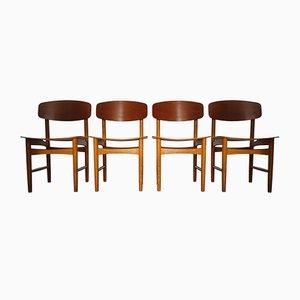 Model 122 Teak & Oak Dining Chairs by Børge Mogensen for Søborg, 1960s, Set of 4