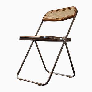 Vintage Pila Stuhl aus Korbgeflecht & Walnuss von Giancarlo Piretti für Castelli