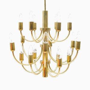 16-Light Golden Chandelier, 1960s