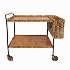 Mid-Century Rattan, Iron, and Wooden Trolley