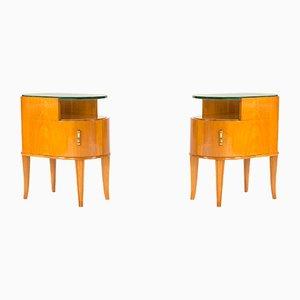 Tavolino vintage in mogano e vetro di Axel Larsson per Bodafors, set di 2
