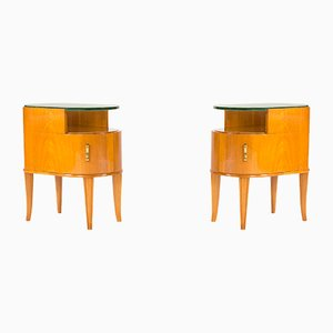 Vintage Mahogany and Glass Side Tables by Axel Larsson for Bodafors, Set of 2
