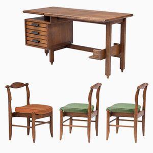 Schreibtisch und Stühle von Guillerme et Chambron für Votre Maison, 1960er