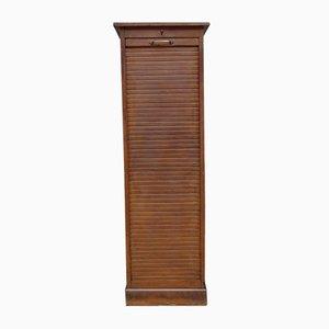 Vintage Industrial Oak Tambour Front Cabinet