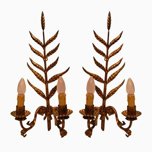 Mid-Century Golden Iron Wall Sconces, Set of 2