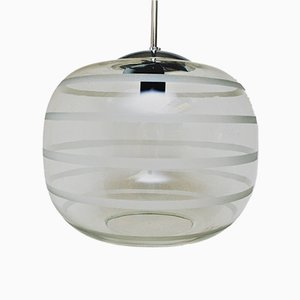 School Ceiling Glass Lamp with Frosted Stripes, 1920s