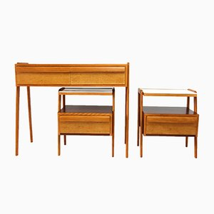 Mid-Century Bedroom Set with Console Table and Two Nightstands from Jitona, 1960s