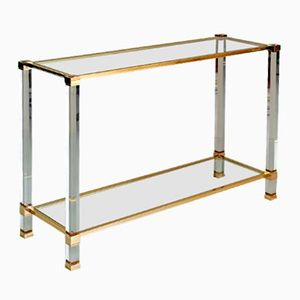Plexiglass and Gilded Metal Console by Pierre Vandel, 1980s