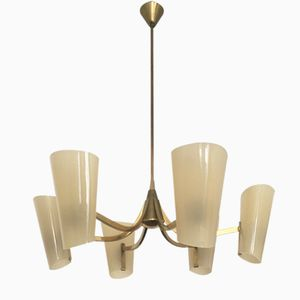 Italian Brass Chandelier with Acrylic Shades, 1960s
