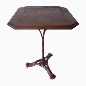 Antiker Bistro Tisch aus Eiche & Gusseisen