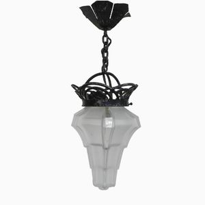 Vintage Art Deco Pressed Glass Pendant Lamp