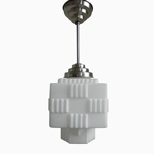 Vintage Art Deco White Glass Pendant Light