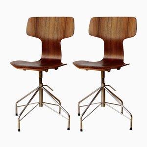 Mid-Century 3103 T-Stühle von Arne Jacobsen für Fritz Hansen, 1964, 2er Set