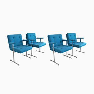 Sedie da ufficio Mid-Century moderne blu di Hille, anni '70, set di 4