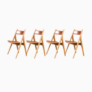 CH29 Sawback Dining Chairs by Hans Wegner for Carl Hansen & Son, 1960s, Set of 4