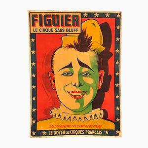 Französisches Vintage Le Figuier Zirkus Lithographie- Poster