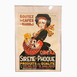 Affiche Sirène Et Phoque Poster par P. Scheiullez pour Les Arts Graphiques du Hainaut, France