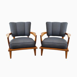 Model SK250 Armchairs by Etienne Henri Martin for Steiner, 1940s, Set of 2