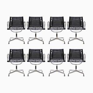 Vintage Aluminium EA 108 Netzgewebe Stühle von Charles & Ray Eames für Vitra, 1980er, 8er Set